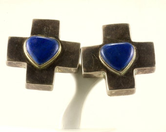 Vintage Cross Design Clip On Earrings 925 Sterling Silver ER 942