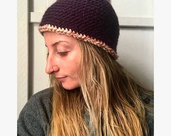 Purple Merino Wool Knit Beanie