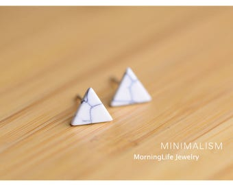 Sterling Silver White Granite Triangle Stud Earrings, White Earrings, Triangle Studs, Modern Jewelry, Small Earrings, Dainty Jewelry