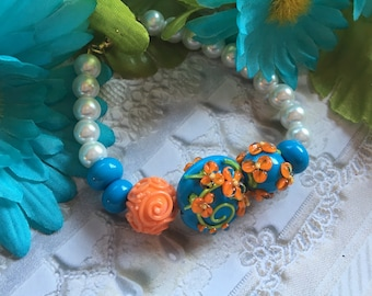 Blue with Orange Flowers and White Faux Pearl Bracelet, Lampwork Jewelry, SRA Lampwork Bead Bracelet,  Gift For Her