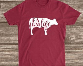 Farm Life Cardinal Red Unisex T-shirt - Cow Shirt - Farm Shirts