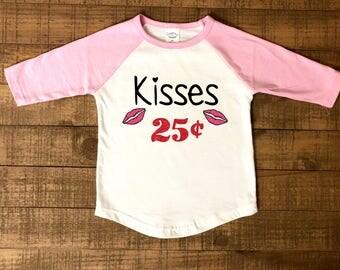girls valentine shirt - 25 cent kisses - girls valentine raglan - girls valentine baseball shirt - kisses 25 cents - lips shirt - valentine
