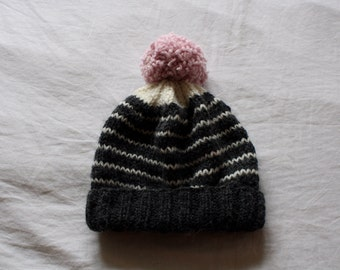 Knit Slouchy Beanie Hat in Grey, White and Pink // Winter Hat with Pom Pom