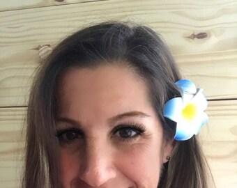 """Plumeria Hawaiian flower hair clips blue artificial frangipani foam barrettes 7cm 3""""  beach luau tropical destination wedding hair accessory"""