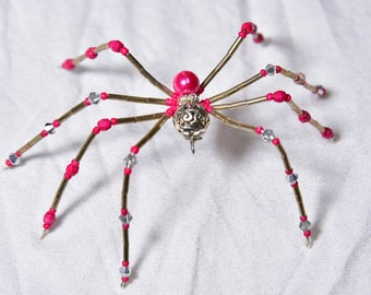 Hot Pink and Gun Metal Gold Beaded Spider