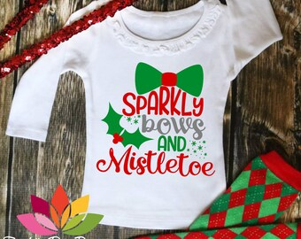 Sparkly Bows and mistletoe kiss Christmas girl SVG cut file for silhouette cameo and cricut