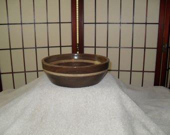 Shallow Walnut Bowl with Poplar accent stripe.  (SDC 11979)