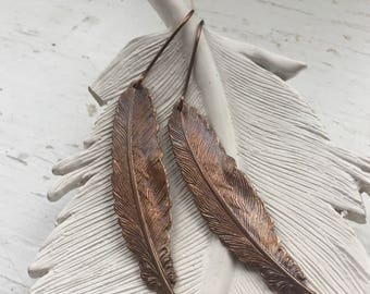 Brass Feather Dangle Earrings