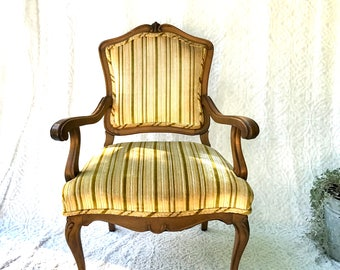 Vintage Louis XV Arm Chair | French Style Arm Chair | Victorian Style Open Arm Chair | Fauteuil Style Chair | Upholstery Accent Chair