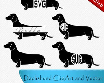 Dachshund SVG, Dachshund Silhouette, Dachshund Monogram, Circle and Split Monogram frames for Cricut,Cut, Vector digital, svg, dxf, eps, png