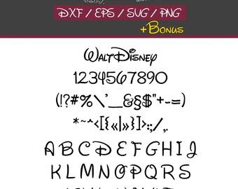 Disney Font Svg Alphabet Letters Cut File Dxf Eps Png + Tff