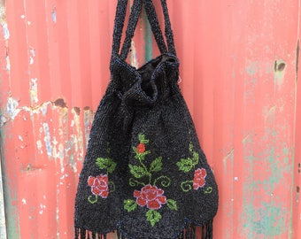 1920s beaded handbag, silk lined