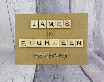 Name and age Scrabble tile birthday card, Custom personalised card, Handmade Happy Birthday card, Wooden alphabet tiles, 46, Eighteen, 18
