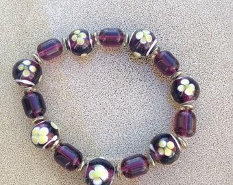 Purple glass beaded flower bracelet