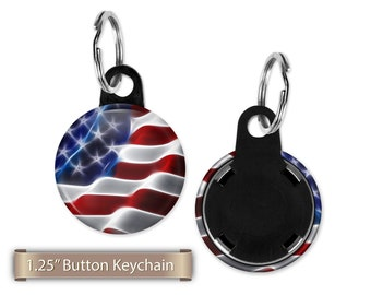 "American Flag Button Keychain, Flair, 1.25"" Key-Chain, Button Keychain, Button Party Favors, Birthday Party Favors, Badge Buttons"