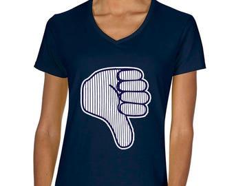 "NAVY LADIES New York Aaron Judge ""Thumbs Down"" V-NECK T-shirt"