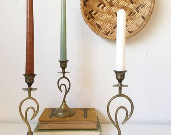 Vintage Brass Candle Holders + Set of 3 + Graduating Height + MCM + Mid Century Modern Style + Hollywood Regency + Swan Bird Shape Candle