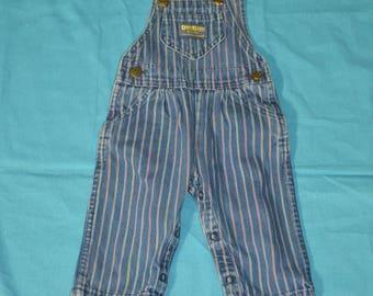 Vintage Baby Girls Osh Kosh B'Gosh Stripes Denim Overalls - Size 6 / 9 Months