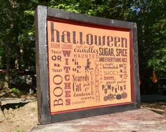 Halloween Witch Words Collage Sign