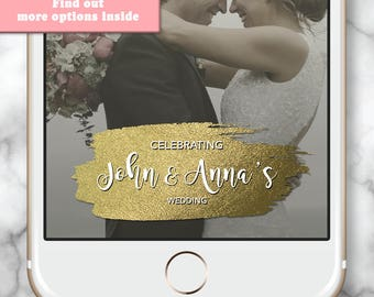Gold Wedding Geofilter, Elegant Snapchat, Gold wedding snapchat, Elegant Birthday Filter, Gold Snapchat Filter, Gold birthday party favor