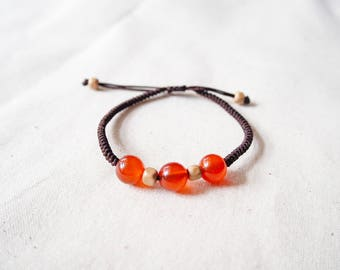 Natural Three Red Agate and Wood Beads Woven Bracelet, Knotted Friendship Bracelet