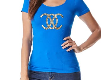 Free Shipping! Seamless Cap Sleeve Top with Shiny Diamond Stone Design Patch