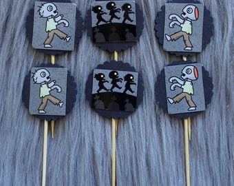 Halloween Zombie Cupcake Toppers, Cake Toppers. Perfect for Party Decorations, Halloween