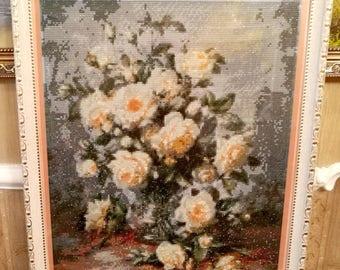 Diamond painting mosaic white roses flowers