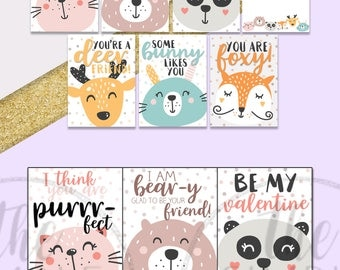 Printable valentine cards - classroom valentines - cute animal cartoon valentine cards for kids - party valentine printable - DIY valentines
