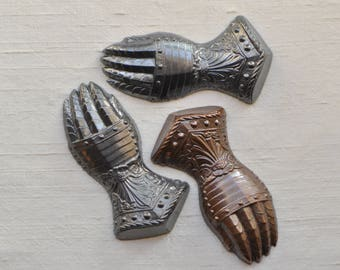 French Medieval Style Knights Armor Hand Stamping Raw Brass, Bronze or Steel Grey Patina Made in France 539J