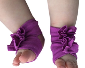 Purple Baby Socks - Baby Barefoot Sandals - Purple Baby Sandals  - Infant Sandals- Newborn Shoes - Infant Socks - Baby Girl Barefoot Shoes