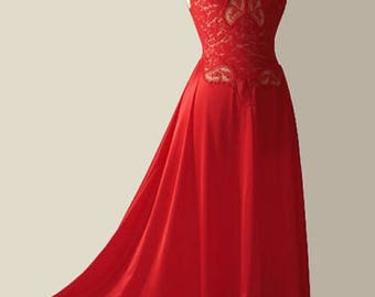 Vintage Olga Red Negligee NightGown style 91060