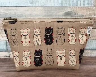 Makeup Bag – Maneki Neko Cats (Lucky Fortune Money) Handmade Japanese Fabric Zipper Pouch Zippered Travel Cosmetics Toiletry Toiletries Case
