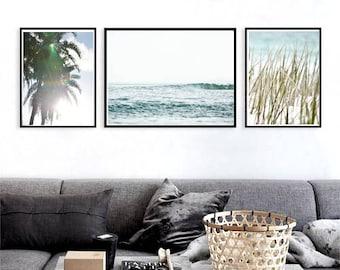 Print Set of 3 Tropical prints Ocean photography Nautical prints Large wall art Beach wall art prints beach art download coastal photography