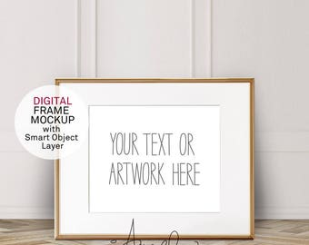 Gold Horizontal 8x10'' Frame Mockup, with mounting, Vintage White wall and parquet floor, Poster Mockup, Hip Styled Photo, High Res #222e
