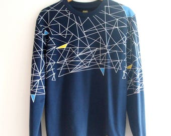 Liu Jo Uomo Blue with Geometric Print Sweater Jumper, sz. L - fits smaller
