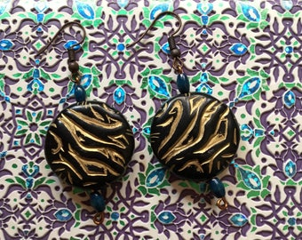 Ethnic african style earrings handmade moon sharp