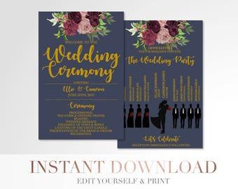 Printable Marsala Floral Wedding Program // Custom Program // Silhouettes Wedding Program // Navy and Gold // Wedding Stationery