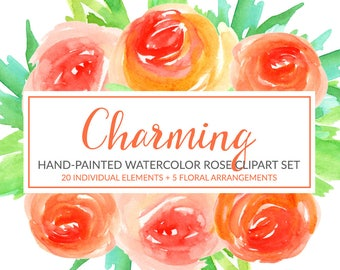 Orange Rose Floral Clipart, Watercolor Flower Clipart, Hand Painted Roses Clip Art, Scrapbook, Commercial Use, PNG