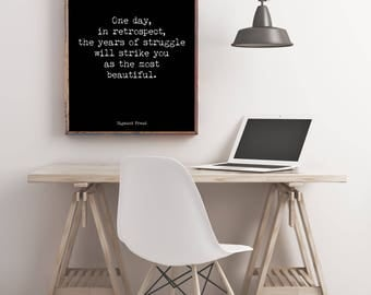 Motivational Quote Print with Sigmund Freud Quote, Inspirational Poster, Freud Print, Psychology Art Print, the years of struggle
