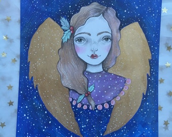 Snow Angel original mixed media drawing.