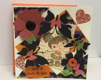 Handmade Halloween Card, Fall Colors Card, Hand Stamped Card, Halloween Card, Fall Card, Halloween Colors Card, Fall Colors Card, Girl Card