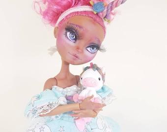 SALE Princess Licorne- OOAK Sweet Unicorn Doll Ever After High Reapaint Custom Art Doll Kawaii Lolita
