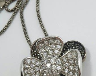 Stunning Vintage Rhinestone Marcasite Sterling 925 Flower Pendant Necklace