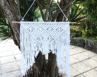 Large Macrame Wall Hanging White   Geometric pattern   White Cotton Rope   Boho   Wall Art   Wedding Decor   Wall Decor   Modern Macrame