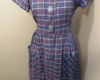 Vintage 1950s blue and brown plaid dress