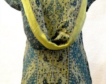 Silk printed Indian ethnic green kurti kurta tunic top with a full set dupatta and bottoms