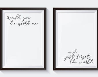 Romantic Printable Wall art, Would you Lie with Me and Just Forget the World, Snow Patrol, Typography Art, Love Poster, Anniversary Gift
