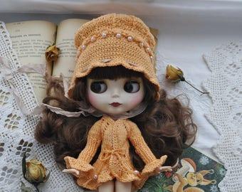 Blythe dress, Blythe clothes, pullip dress, pullip clothes, outfit blythe, set of knitted clothes, blythe knitwear orange, vintage dress