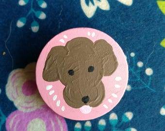 Chocolate Poodle Hand Painted Pin